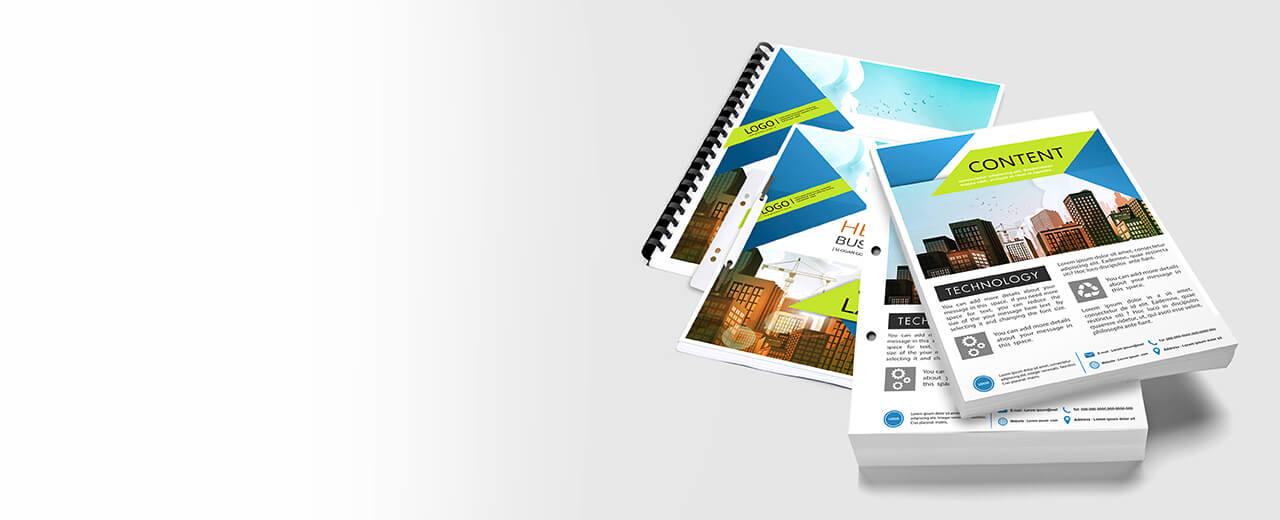 DIN A4 Drucke Blattsammlungen und Broschüren werden präsentiert