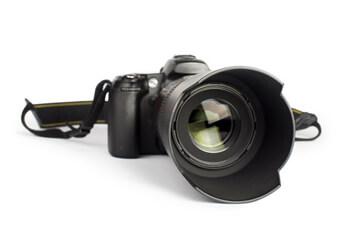 Fotorealistischer Druck Das Bild einer professionellen Spiegelreflexkamera