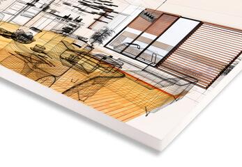 Architektur Druck auf Polystyrol Platte