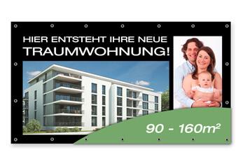 Bauzaunbanner Eine Immobilienwerbung für ein Neubauprojekt
