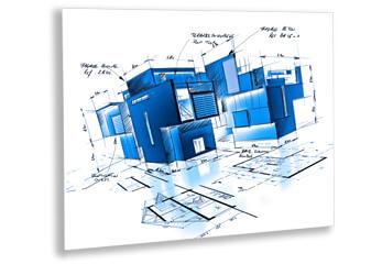 Präsentationsdruck ein Plattendruck für einen Architekturwettbewerb