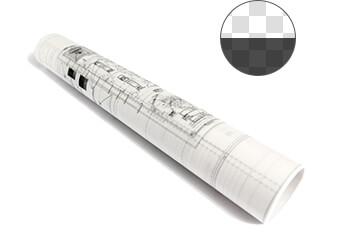 Eine gerollte Architekturzeichnung auf Transparentpapier