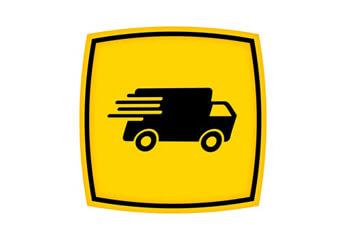 Ein gelbes Logo für Expresslieferung